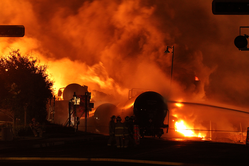 Freight train burning in Lac-Megantic, Quebec