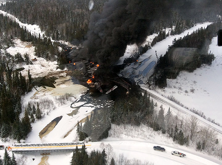 Closer aerial westward view of derailment site (March 7, 2015)