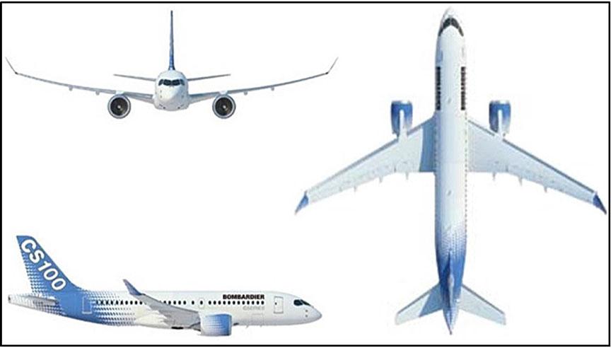 Drawing of three views of the CS100 aircraft