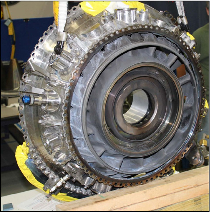 Image of the front face of turbine intermediate case