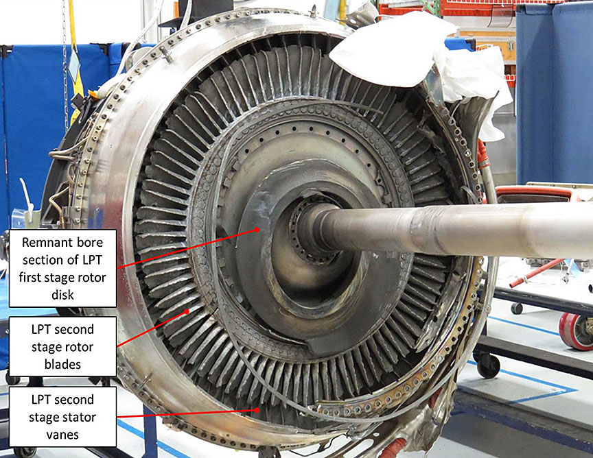 Image of the front face of the low-pressure turbine