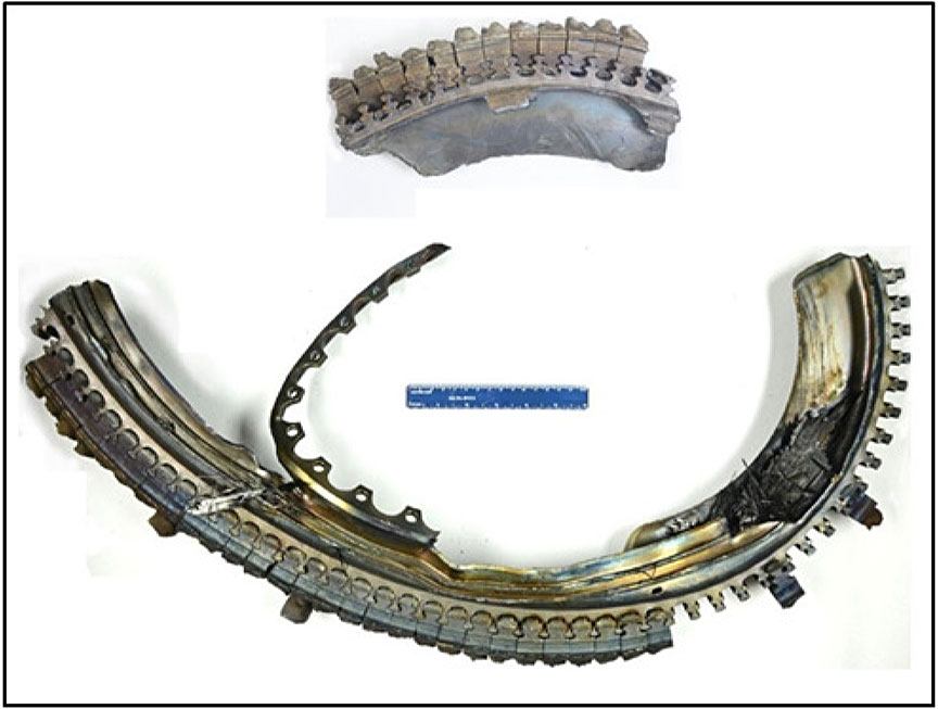 Image of the recovered low-pressure turbine 1 segments