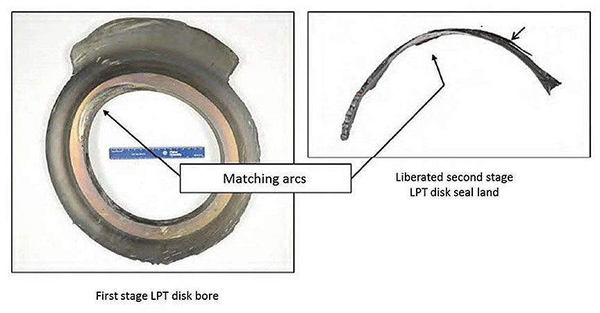 Image of the remnant of first stage LPT rotor bore and brush seal land