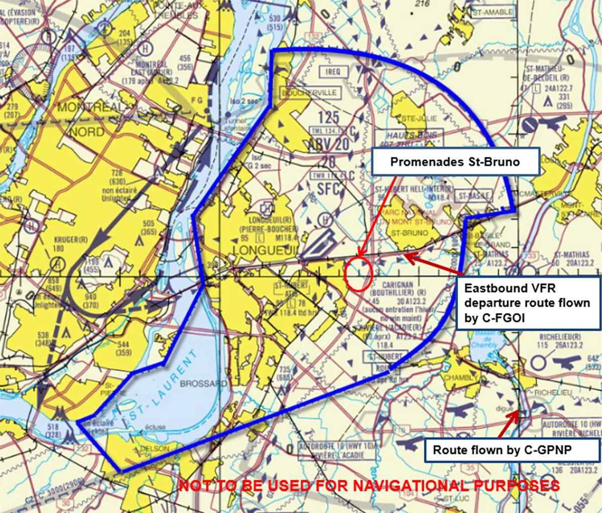 Air Transportation Safety Investigation Report Cessna 152 Navigation Light Wiring Diagram St Hubert Control Zone Shown In Blue And Surrounding Area Source Nav Canada Manuel Dexploitation Dunit Tour De With Tsb Annotations